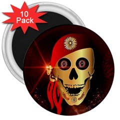 Funny, happy skull 3  Magnets (10 pack)