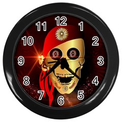 Funny, happy skull Wall Clocks (Black)
