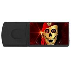 Funny, happy skull USB Flash Drive Rectangular (2 GB)