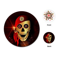 Funny, happy skull Playing Cards (Round)