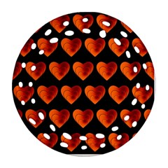 Heart Pattern Orange Round Filigree Ornament (2Side)