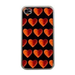 Heart Pattern Orange Apple iPhone 4 Case (Clear)