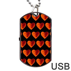 Heart Pattern Orange Dog Tag USB Flash (One Side)