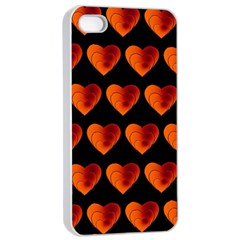 Heart Pattern Orange Apple Iphone 4/4s Seamless Case (white)