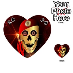 Funny, Happy Skull Playing Cards 54 (heart)