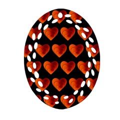 Heart Pattern Orange Oval Filigree Ornament (2-Side)