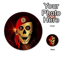 Funny, happy skull Multi-purpose Cards (Round)