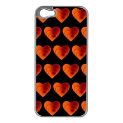 Heart Pattern Orange Apple iPhone 5 Case (Silver)