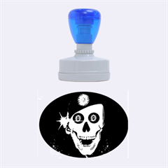 Funny, happy skull Rubber Oval Stamps