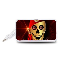 Funny, happy skull Portable Speaker (White)