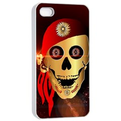 Funny, Happy Skull Apple Iphone 4/4s Seamless Case (white)