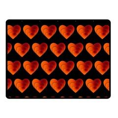 Heart Pattern Orange Double Sided Fleece Blanket (small)