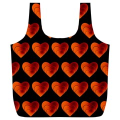 Heart Pattern Orange Full Print Recycle Bags (L)