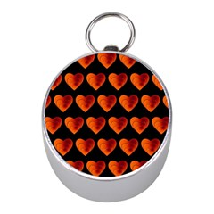 Heart Pattern Orange Mini Silver Compasses