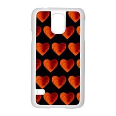 Heart Pattern Orange Samsung Galaxy S5 Case (White)