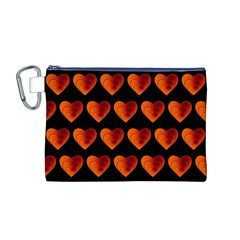 Heart Pattern Orange Canvas Cosmetic Bag (M)