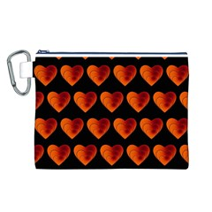 Heart Pattern Orange Canvas Cosmetic Bag (L)