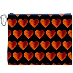 Heart Pattern Orange Canvas Cosmetic Bag (XXXL)