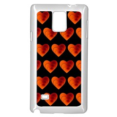 Heart Pattern Orange Samsung Galaxy Note 4 Case (White)