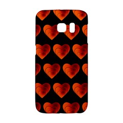 Heart Pattern Orange Galaxy S6 Edge
