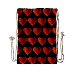 Heart Pattern Orange Drawstring Bag (Small)