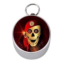 Funny, Happy Skull Mini Silver Compasses
