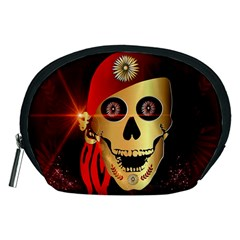 Funny, happy skull Accessory Pouches (Medium)