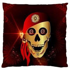 Funny, Happy Skull Large Flano Cushion Cases (one Side)
