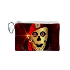 Funny, happy skull Canvas Cosmetic Bag (S)