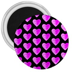 Heart Pattern Pink 3  Magnets