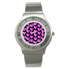 Heart Pattern Pink Stainless Steel Watches