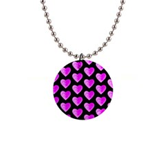 Heart Pattern Pink Button Necklaces