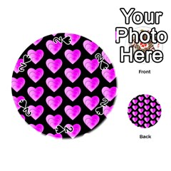 Heart Pattern Pink Playing Cards 54 (Round)