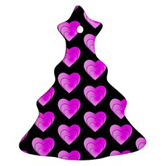 Heart Pattern Pink Christmas Tree Ornament (2 Sides)