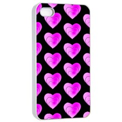 Heart Pattern Pink Apple iPhone 4/4s Seamless Case (White)