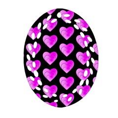 Heart Pattern Pink Ornament (Oval Filigree)