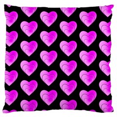 Heart Pattern Pink Large Cushion Cases (One Side)