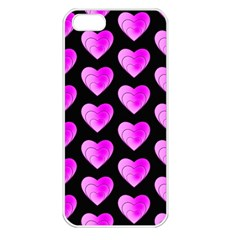 Heart Pattern Pink Apple iPhone 5 Seamless Case (White)