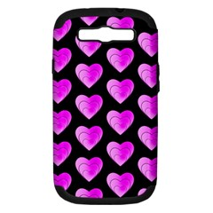 Heart Pattern Pink Samsung Galaxy S III Hardshell Case (PC+Silicone)