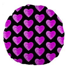 Heart Pattern Pink Large 18  Premium Round Cushions