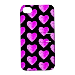 Heart Pattern Pink Apple iPhone 4/4S Hardshell Case with Stand