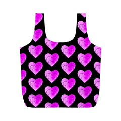 Heart Pattern Pink Full Print Recycle Bags (M)