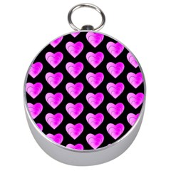 Heart Pattern Pink Silver Compasses