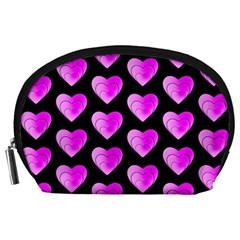 Heart Pattern Pink Accessory Pouches (Large)