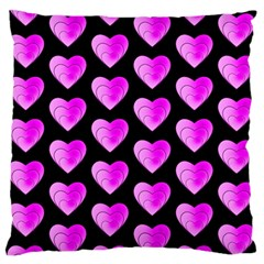 Heart Pattern Pink Large Flano Cushion Cases (one Side)