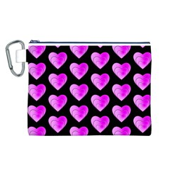 Heart Pattern Pink Canvas Cosmetic Bag (L)