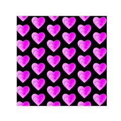 Heart Pattern Pink Small Satin Scarf (Square)