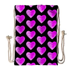 Heart Pattern Pink Drawstring Bag (large)