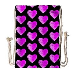 Heart Pattern Pink Drawstring Bag (Large)