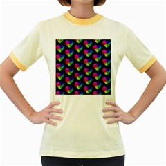 Heart Pattern Rainbow Women s Fitted Ringer T Shirts